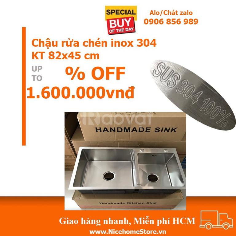 Bồn rửa chén INOX 304 KT 82x45