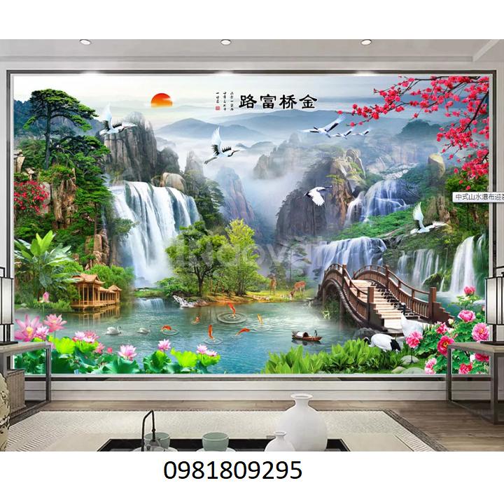 Gạch tranh phong cảnh vườn hoa 3d