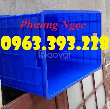 Thùng nhựa đặc 5 bánh xe, sóng nhựa bít, thùng chứa đồ
