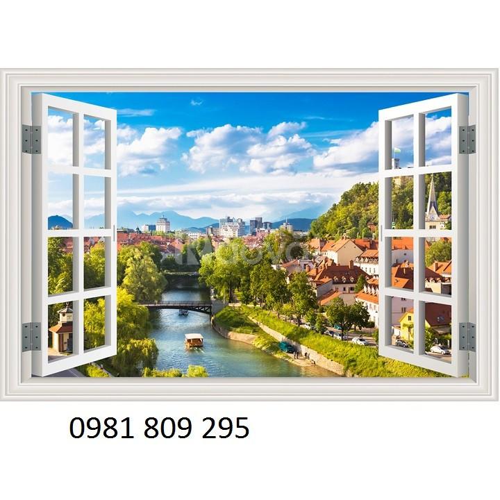 Tranh cửa sổ gạch tranh 3d phong thủy