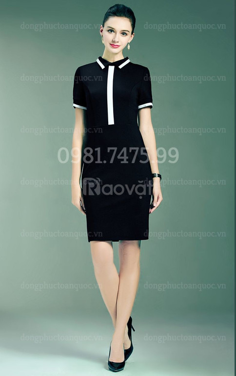 Xưởng may váy liền đồng phục theo size đẹp miễn chê, giá tốt