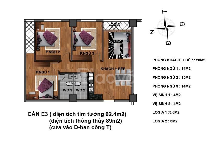 Còn 6 suất ngoại giao căn 3 ngủ CC 234 Hoàng Quốc Việt giá 25.5tr/m2
