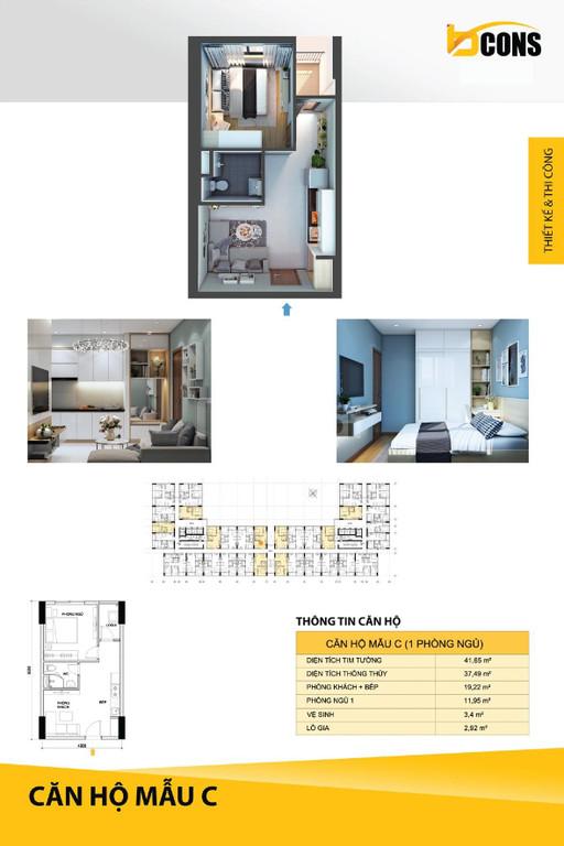 Sở hữu căn hộ Bcons Miền Đông 1PN, DT: 41m2, chỉ với 365 triệu