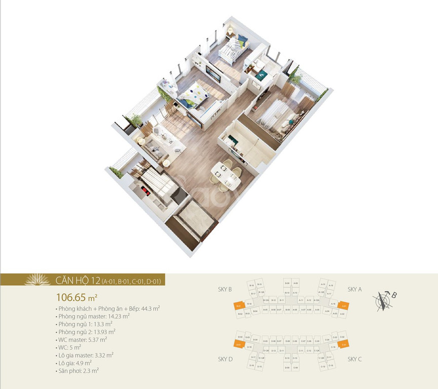 Phòng bán hàng chủ đâu tư bán căn hộ 105m2 –3PN tại Imperia Sky Garden