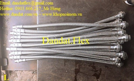 Khớp nối mềm nối kép inox 304, ống nối mềm inox 304