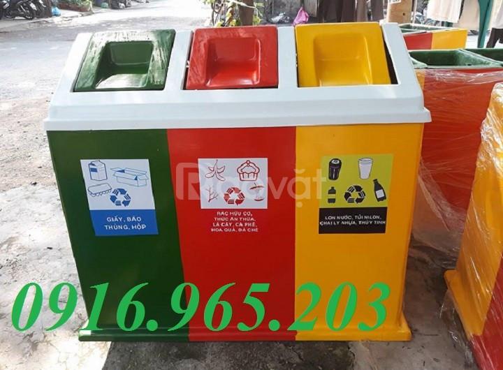 Thùng rác 3 ngăn phân loại rác thải