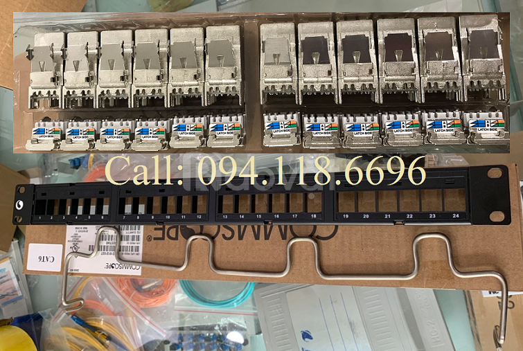 Patch Panel CAT6A AMP/ Commscope chống nhiễu 24 cổng
