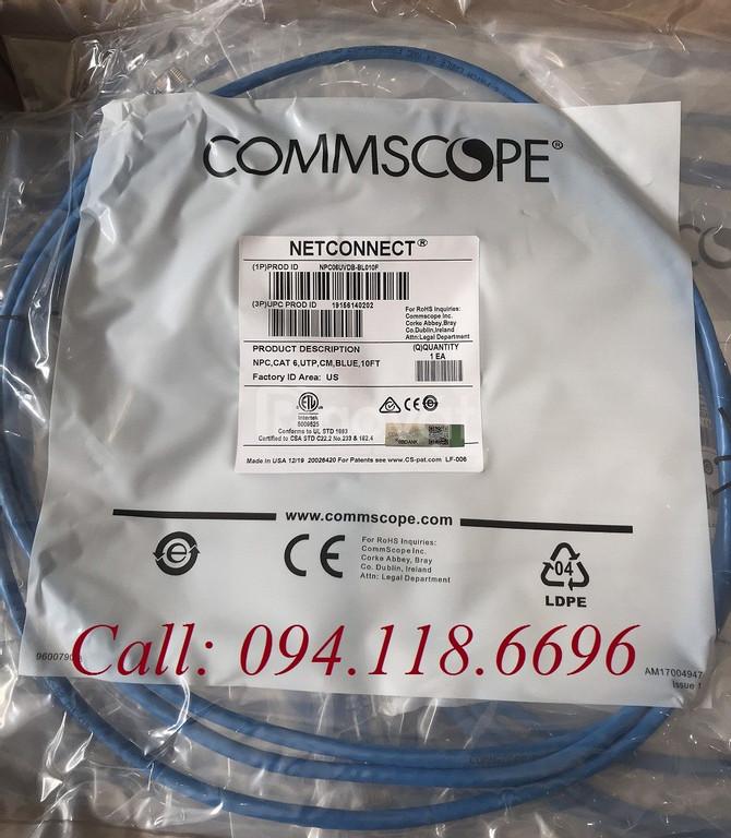 Annam chuyên Dây nhảy patch cord CommScope/ AMP Cat6 10FT Blue