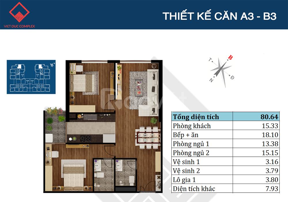 Căn hộ chung cư Việt Đức Complex 80m2 chỉ 2,5 tỷ