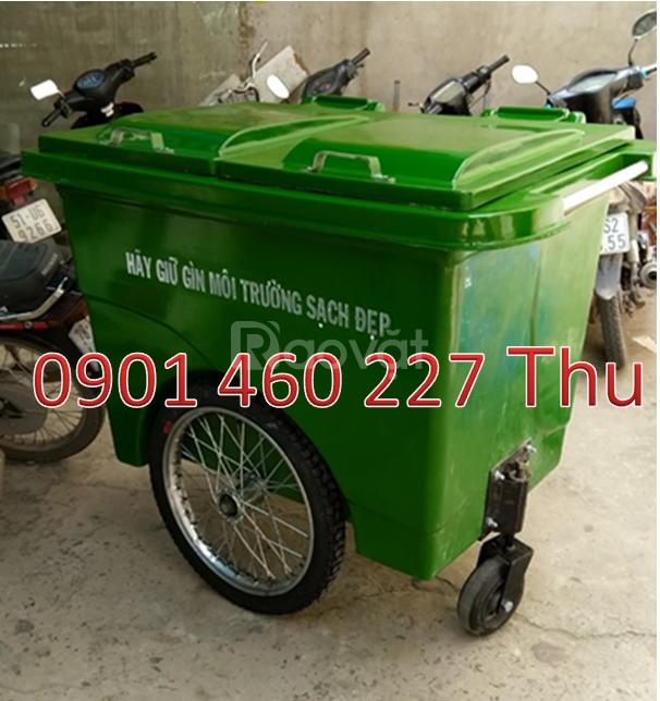 Thùng rác 660 lít đựng chất thải tái chế, xe gom rác giá rẻ TPHCM