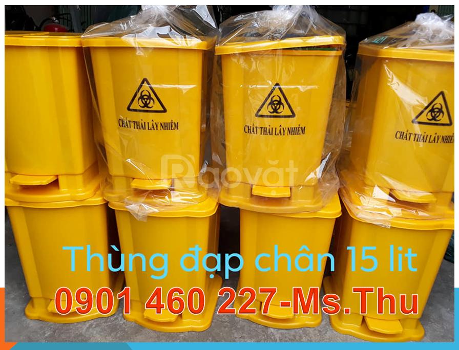 Bán thùng rác y tế đạp chân,thùng rác y tế dung tích 15 lít,20 lít TPH