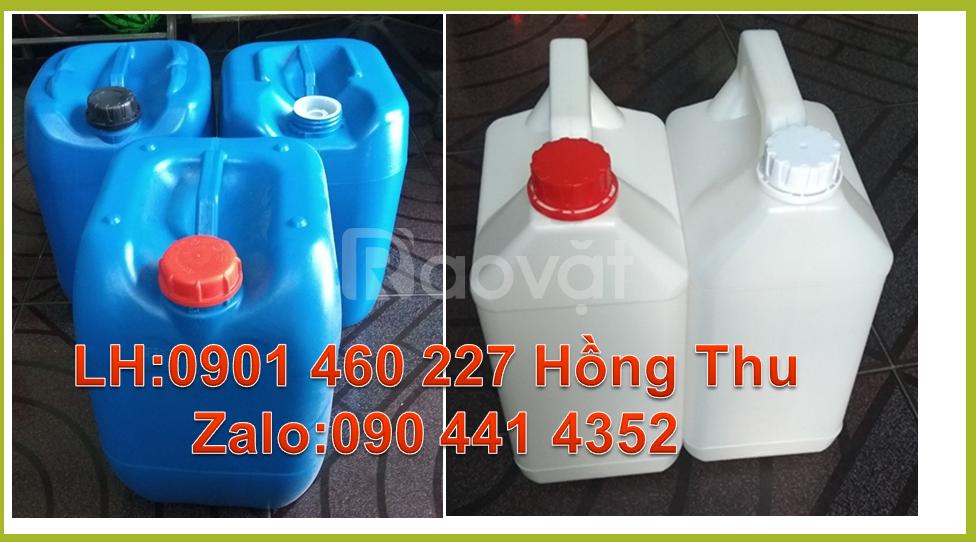 Bán can nhựa 20L,can 5L đựng hóa chất,giá can nhựa 20 lít màu trắng