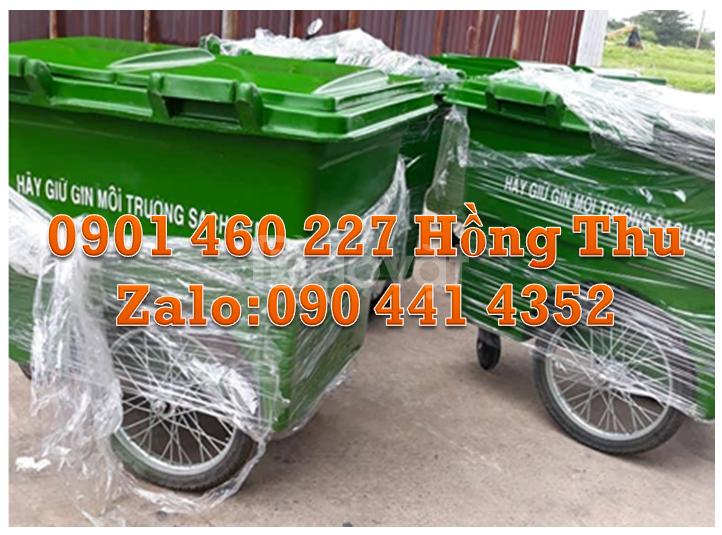 Xe thu gom rác màu xanh lá 660 lít - 1000 lít tại TPHCM