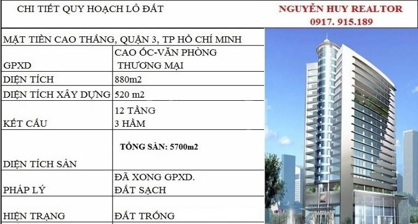 61 Cao Thắng, quận 3, DT 15x59, 3 hầm+ 12 lầu, 300 tỷ (11/2019)