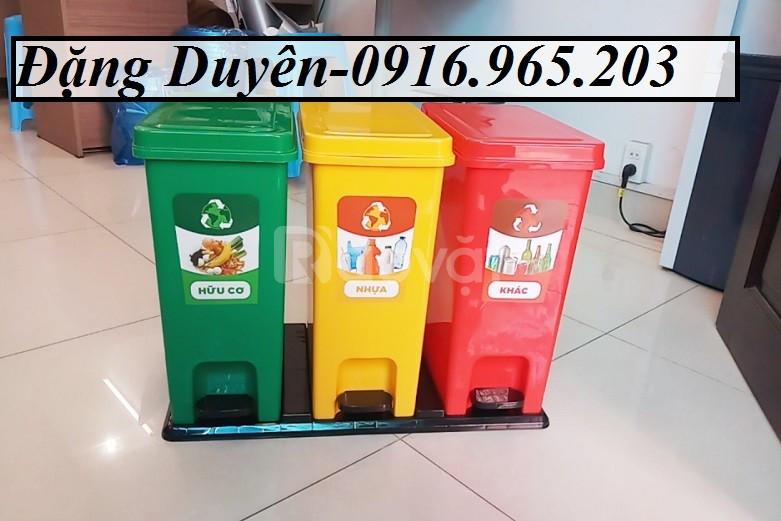 Thùng rác 3 ngăn 60l
