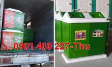 Thùng rác 2 ngăn trong trường học,thùng rác 2 màu phân loại rác