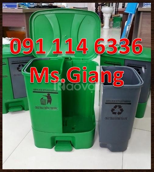 Thùng rác 2 ngăn nhựa HDPE , có bàn đạp chân,dung tích 40 lít