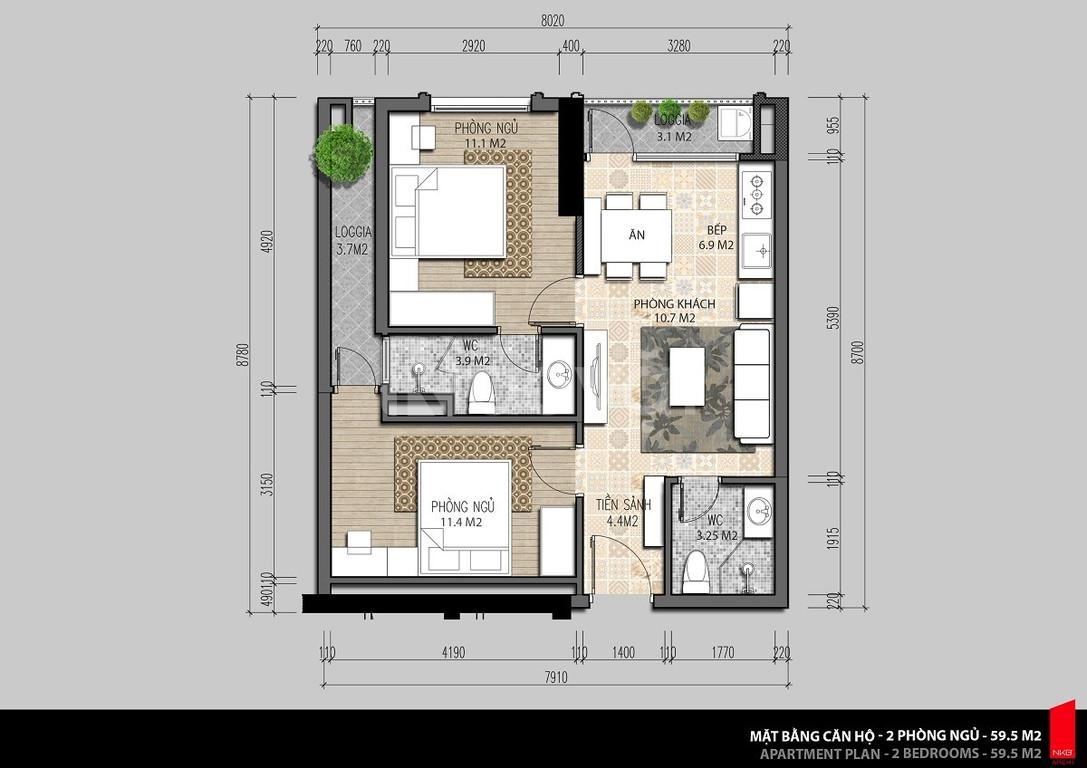 Cần bán gấp căn hộ 60m2 Iris garden Mỹ đình, giá: 1,54 tỷ