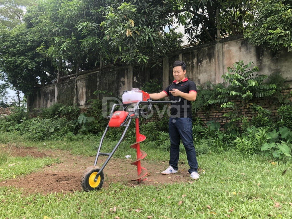 Máy khoan đất trồng cây có bánh xe tặng kèm mũi khoan
