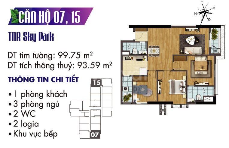 Bán căn hộ 3 ngủ đẹp dự án TNR Goldmark City