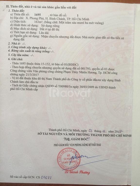 Bán lô góc đất biệt thự KDC Ấp 5, Phong Phú, Bình Chánh, SHR, giá tốt