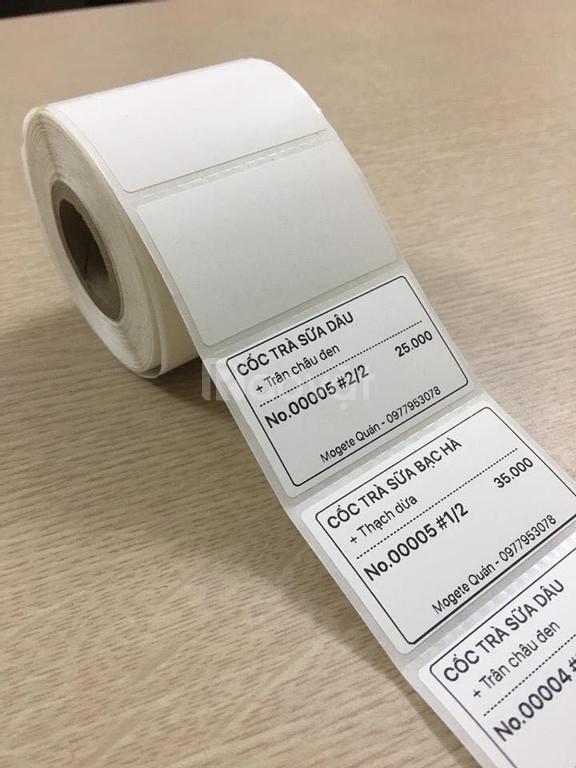 Thanh lý giấy in tem trà sữa tại Bình Định giá rẻ