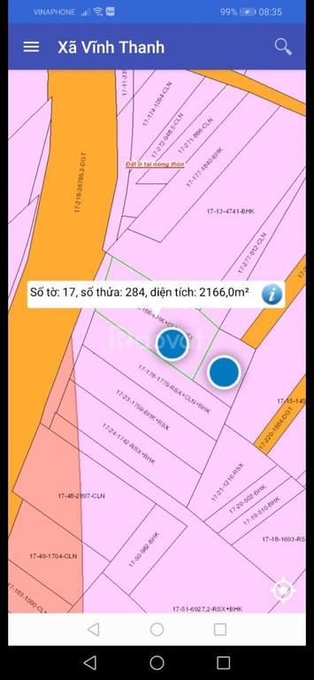 Bán 2 lô đất 3000m2 mặt tiền đường Nguyễn Hữu Cảnh, xã Vĩnh Thanh