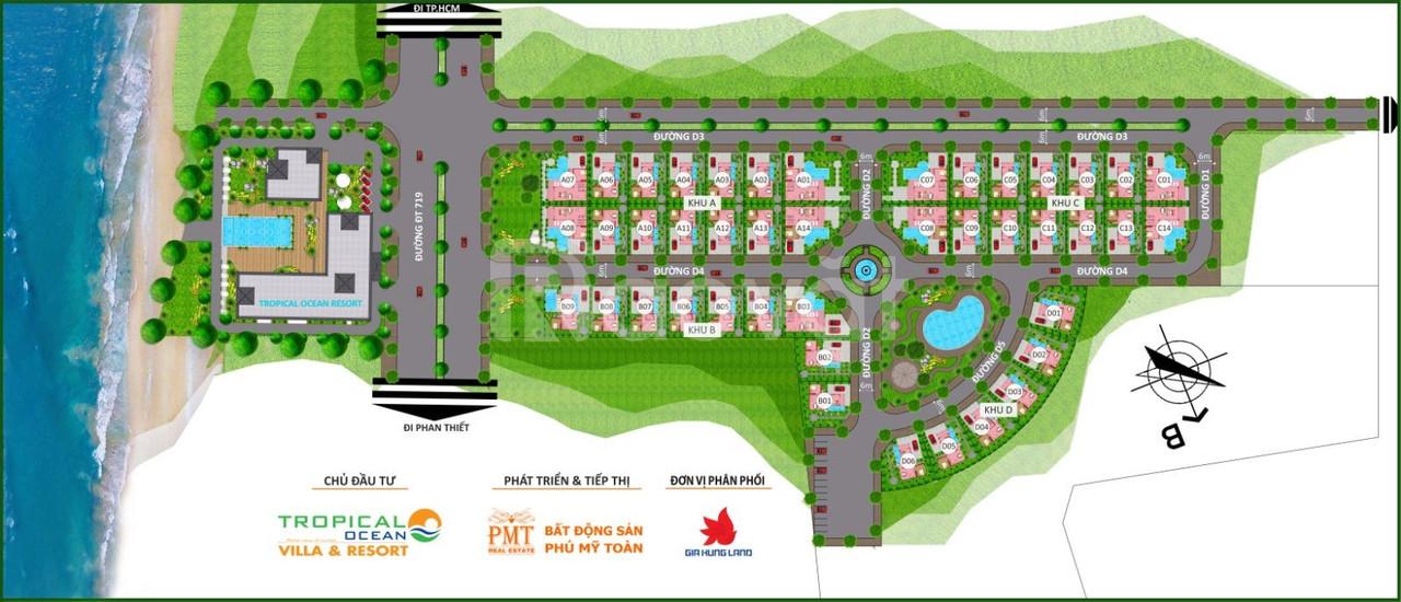Đất nền biệt thự biển Tropical Ocean Villas & Resort, giá từ 15tr/m2