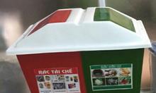 Chuyên sản xuất thùng rác 2 ngăn, thùng rác 2 ngăn 2 màu phân loại rác