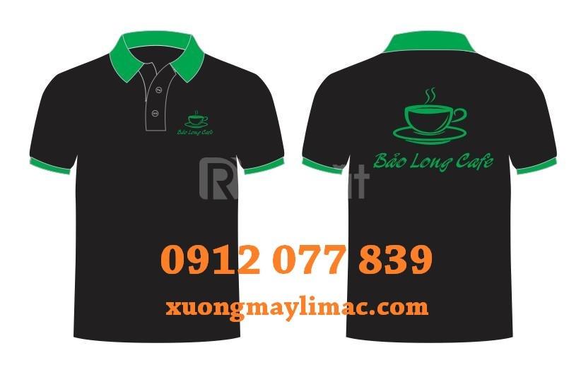 Áo đồng phục cà phê cổ xanh lá