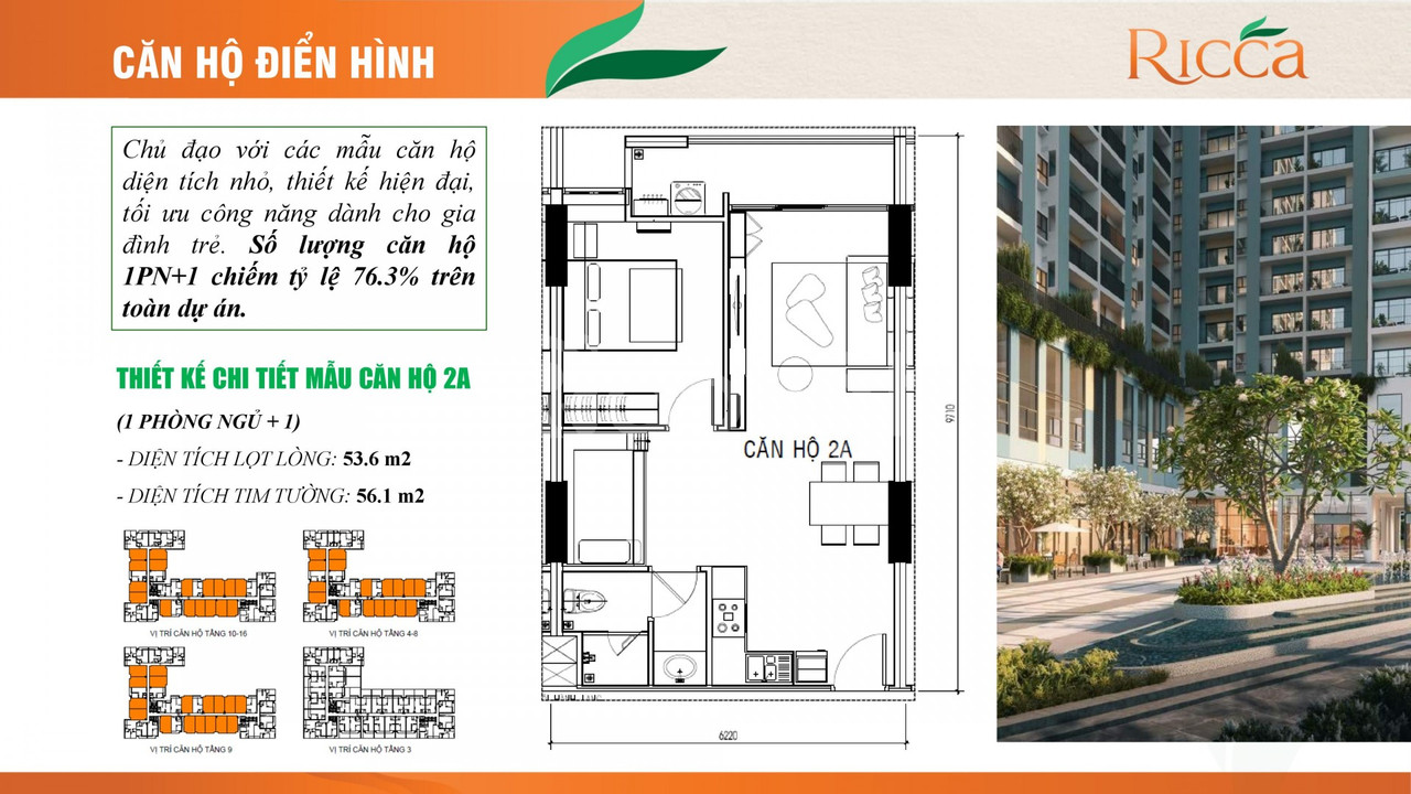 Căn hộ dự án Ricca tọa lạc ngay trung tâm phường Phú Hữu