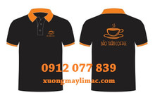 In áo đồng phục nhân viên quán cà phê màu đen cổ cam