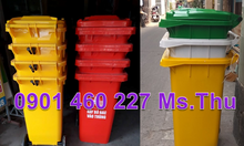 Thùng rác 120 lít màu đỏ, thùng đựng rác 240 lít màu cam