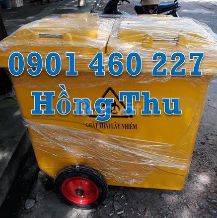 Thùng rác HDPE 660 lít 4 bánh xe, thùng rác composite 1000l 3 bánh căm