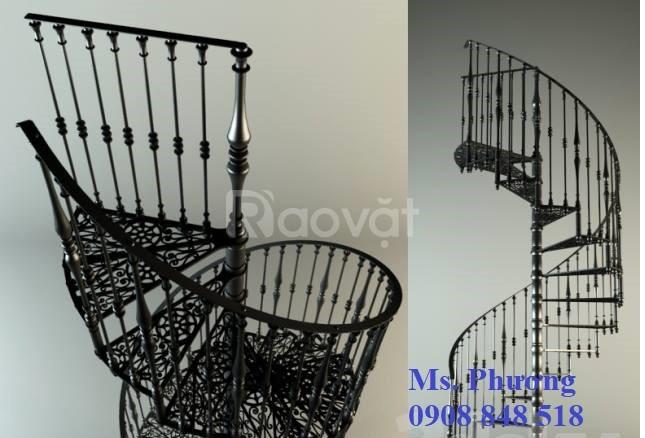 Cầu thang sắt hộp, cầu thang sắt xoắn ốc nhỏ gọn, hiện đại