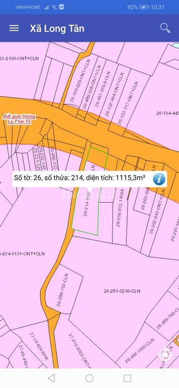 Bán lô đất 1115m2 mặt tiền Lý Thái Tổ, xã Long Tân