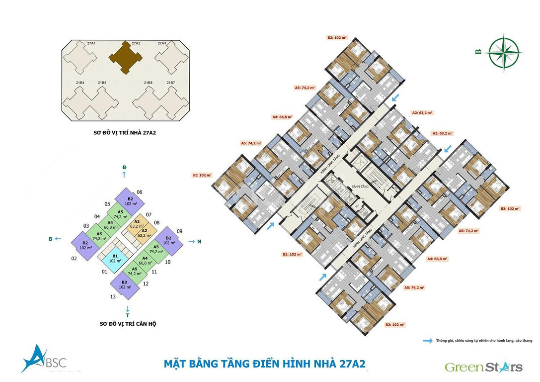 Căn hộ số 05 tòa A2, tầng thấp chung cư Green Stars