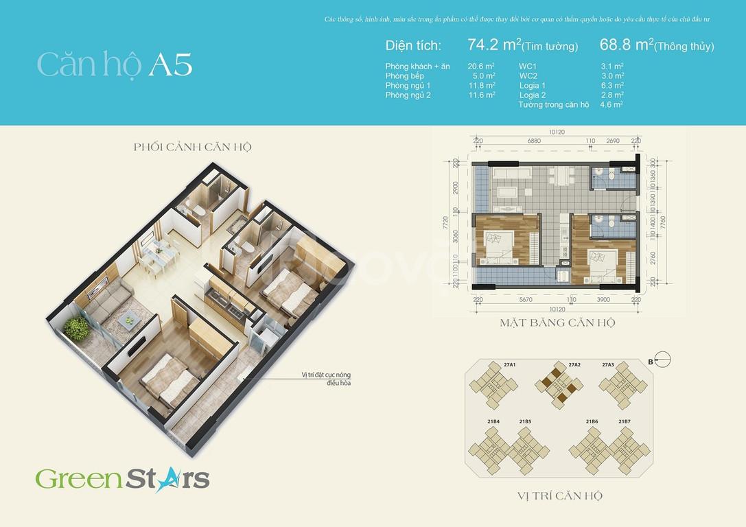 Căn hộ số 10 tòa A2, tầng cao chung cư Green Stars