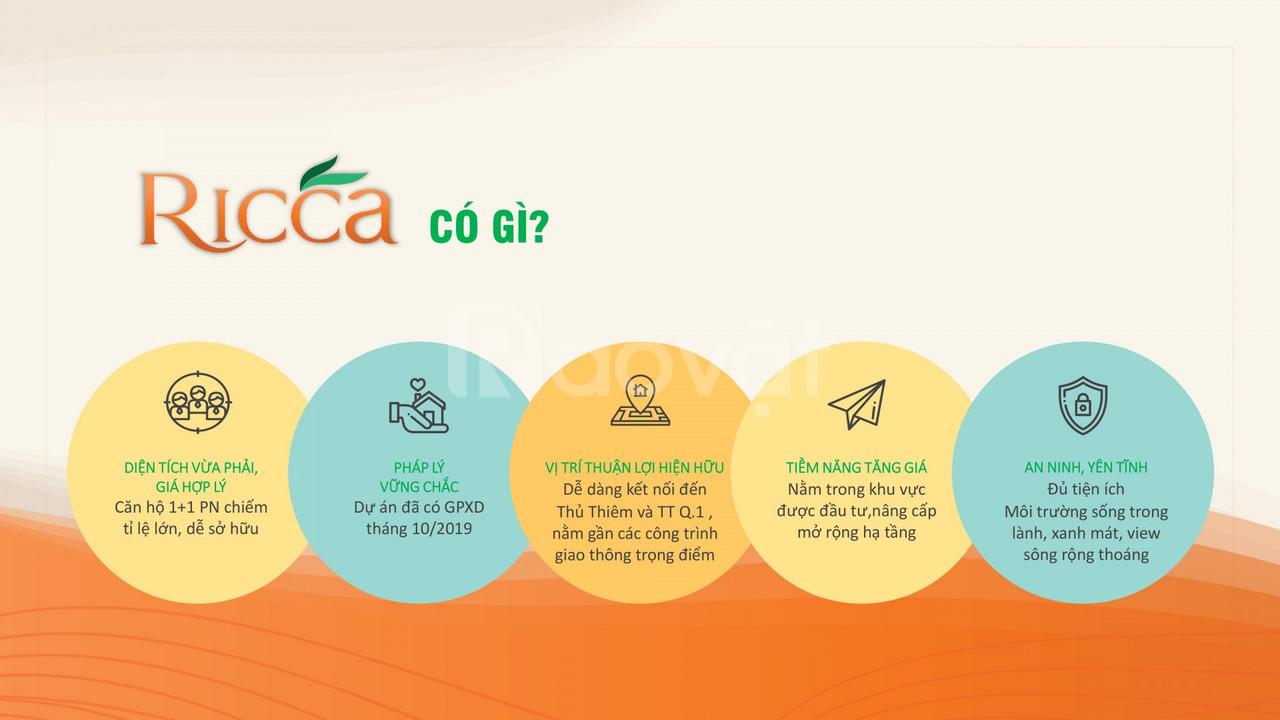 Căn hộ dự án Ricca tọa lạc ngay trung tâm phường Phú Hữu quận