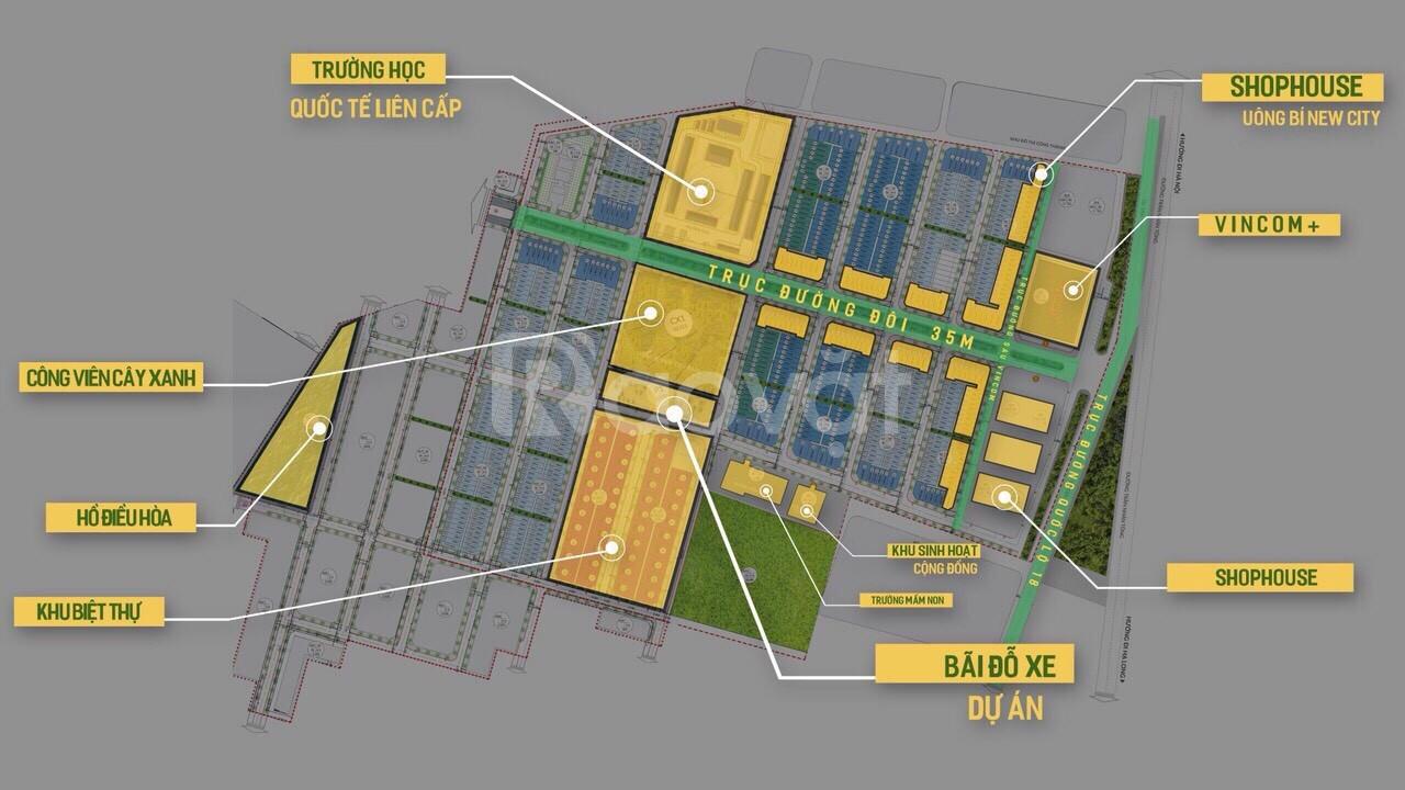 Bán lô đất 100m2 ngay Vincom, TP Uông Bí giá chỉ 1,1 tỷ