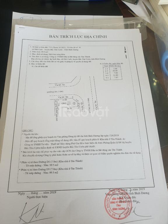 Đất trung tâm thị xã Tân Uyên 650 triệu/1 nền - Thổ cư 100%