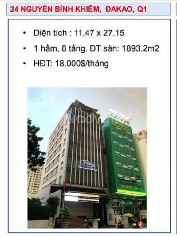 Chuyển nhượng building số 24 Nguyễn Bỉnh Khiêm, P. Đakao, Q.1