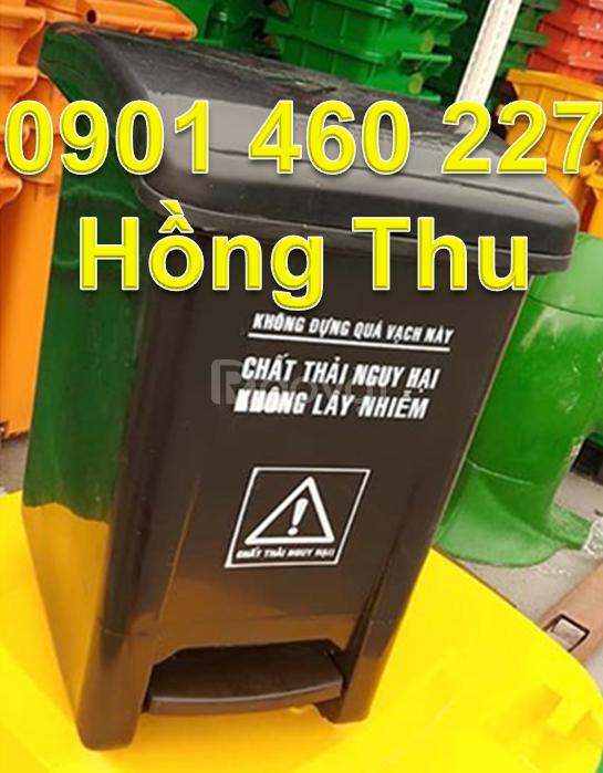 Thùng rác y tế 15 lít giá bao nhiêu thùng rác 20 lít đạp chân màu đen