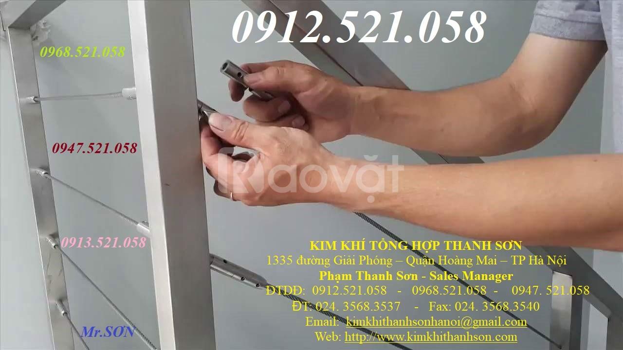 Tăng đơ trang trí nội thất,tăng đơ ống inox 304,cáp lụa bọc nhựa.
