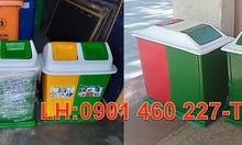 Thùng rác 3 ngăn nhựa công nghiệp, thùng rác 3 ngăn cao cấp