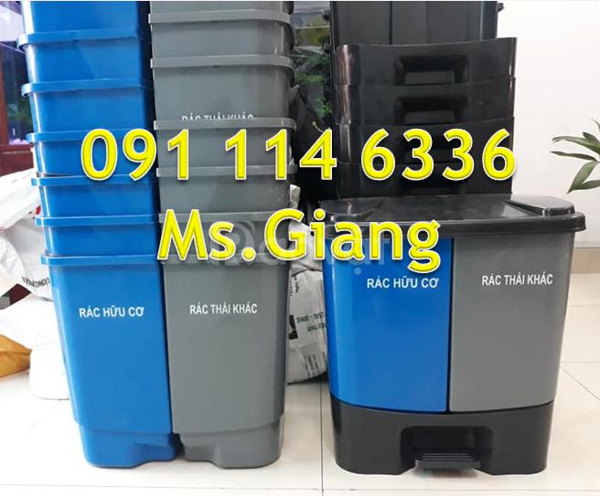 PP thùng rác đạp chân 40 lít nhựa HDPE, thùng rác 2 ngăn 40 lít