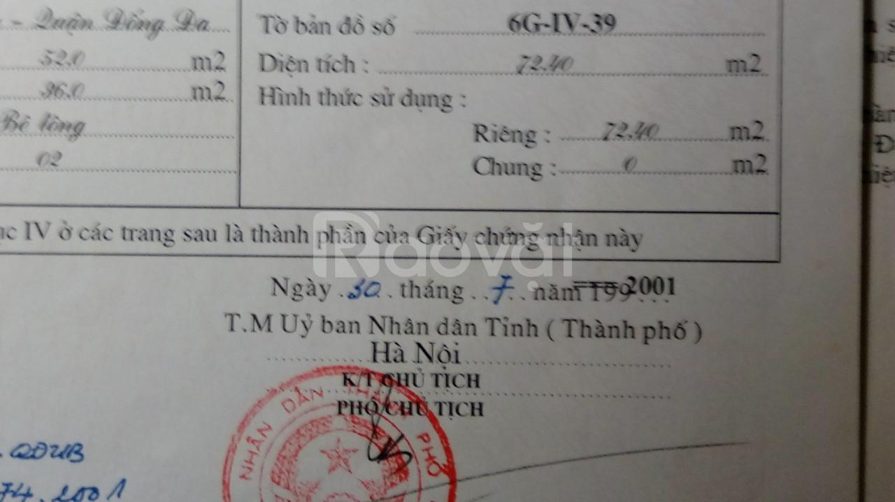 Bán nhà, đất mặt ngõ 72 Tôn Thất Tùng-Hà Nội