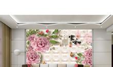 Tranh 3d bình hoa sứ ngọc- gạch 3d