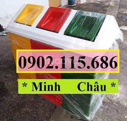 Thùng phân loại rác 3 ngăn, thùng rác 3 ngăn, thùng rác 3 màu (ảnh 5)
