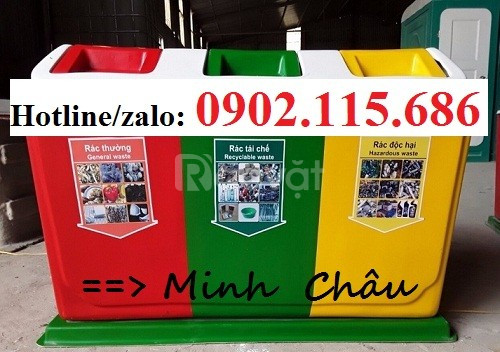 Thùng phân loại rác 3 ngăn, thùng rác 3 ngăn, thùng rác 3 màu (ảnh 6)